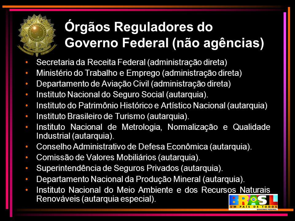 Órgãos Reguladores do Governo Federal (não agências) Secretaria da Receita Federal (administração direta) Ministério do Trabalho e Emprego (administra