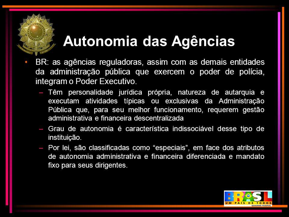 Autonomia das Agências BR: as agências reguladoras, assim com as demais entidades da administração pública que exercem o poder de polícia, integram o