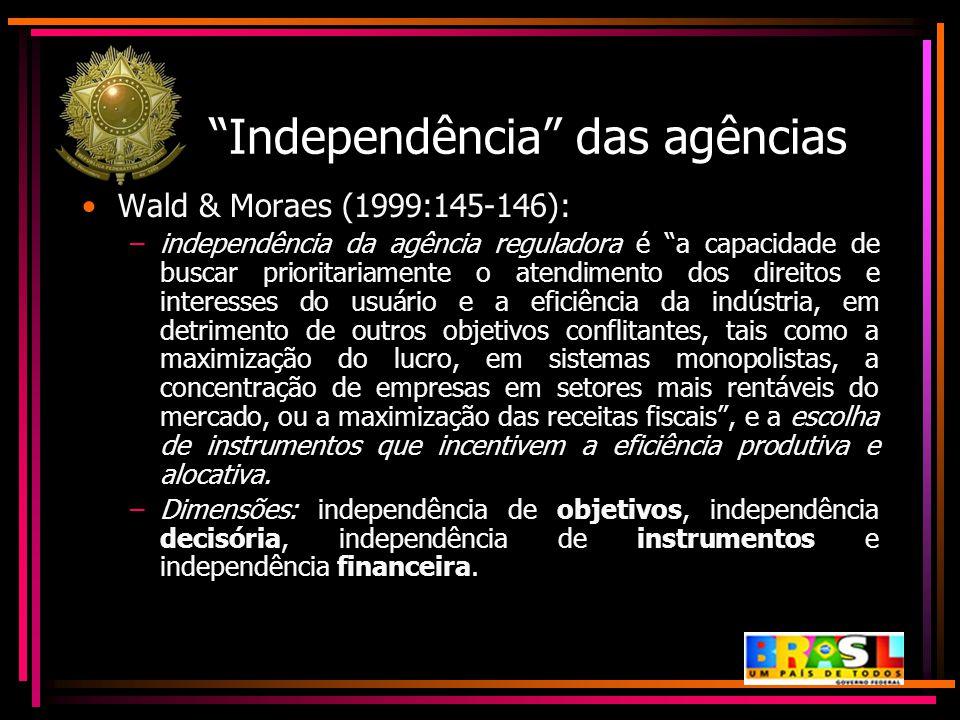"""""""Independência"""" das agências Wald & Moraes (1999:145-146): –independência da agência reguladora é """"a capacidade de buscar prioritariamente o atendimen"""