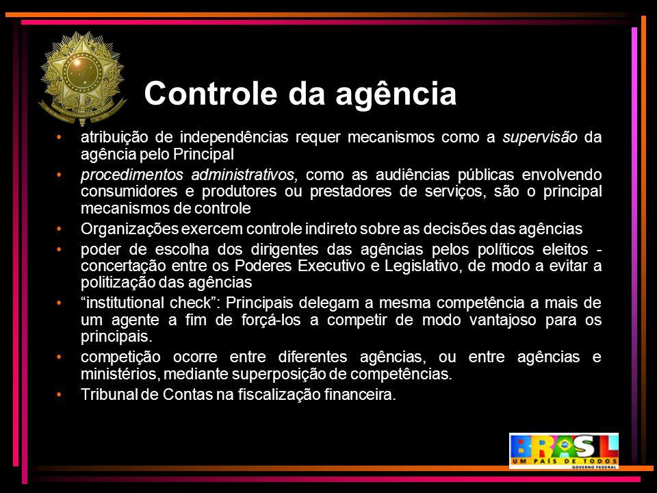 Controle da agência atribuição de independências requer mecanismos como a supervisão da agência pelo Principal procedimentos administrativos, como as