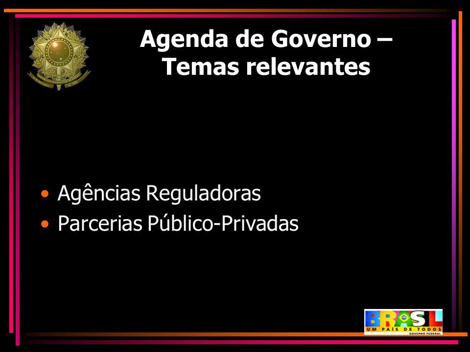 Agenda de Governo – Temas relevantes Agências Reguladoras Parcerias Público-Privadas