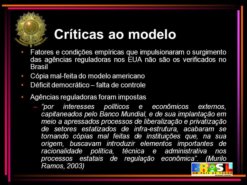Críticas ao modelo Fatores e condições empíricas que impulsionaram o surgimento das agências reguladoras nos EUA não são os verificados no Brasil Cópi