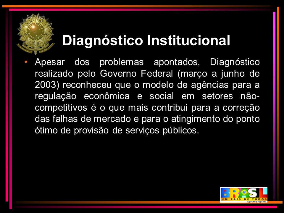 Diagnóstico Institucional Apesar dos problemas apontados, Diagnóstico realizado pelo Governo Federal (março a junho de 2003) reconheceu que o modelo d