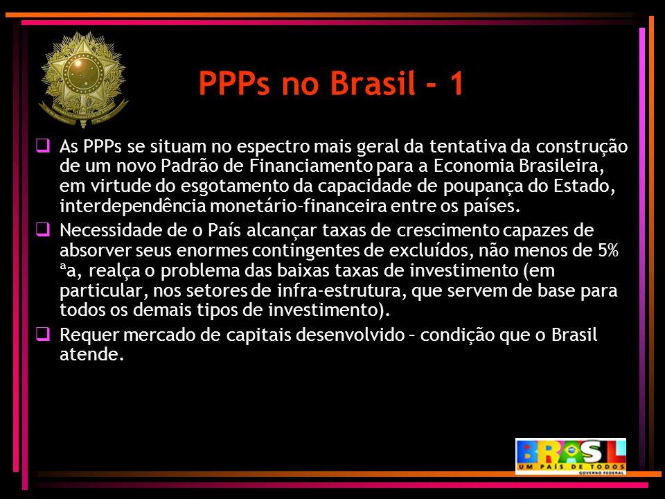 PPPs no Brasil - 1  As PPPs se situam no espectro mais geral da tentativa da construção de um novo Padrão de Financiamento para a Economia Brasileira