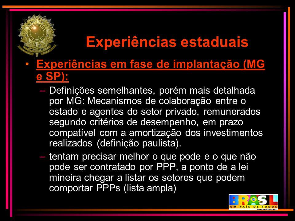 Experiências estaduais Experiências em fase de implantação (MG e SP): –Definições semelhantes, porém mais detalhada por MG: Mecanismos de colaboração
