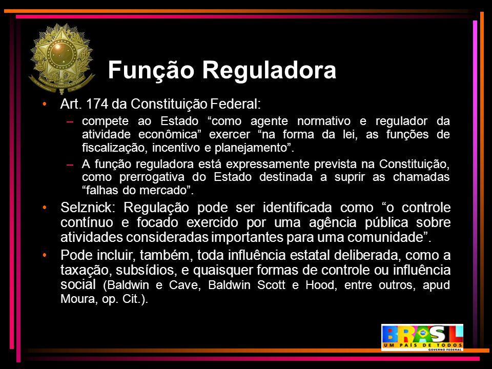 """Função Reguladora Art. 174 da Constituição Federal: –compete ao Estado """"como agente normativo e regulador da atividade econômica"""" exercer """"na forma da"""