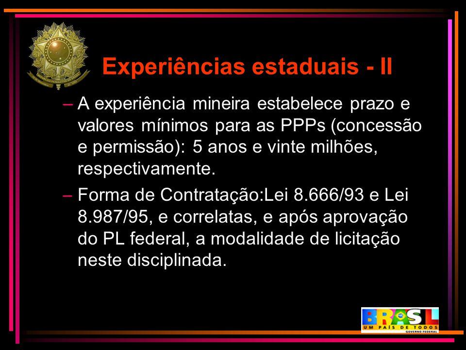 Experiências estaduais - II –A experiência mineira estabelece prazo e valores mínimos para as PPPs (concessão e permissão): 5 anos e vinte milhões, re