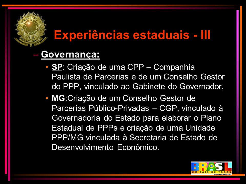 Experiências estaduais - III –Governança: SP: Criação de uma CPP – Companhia Paulista de Parcerias e de um Conselho Gestor do PPP, vinculado ao Gabine