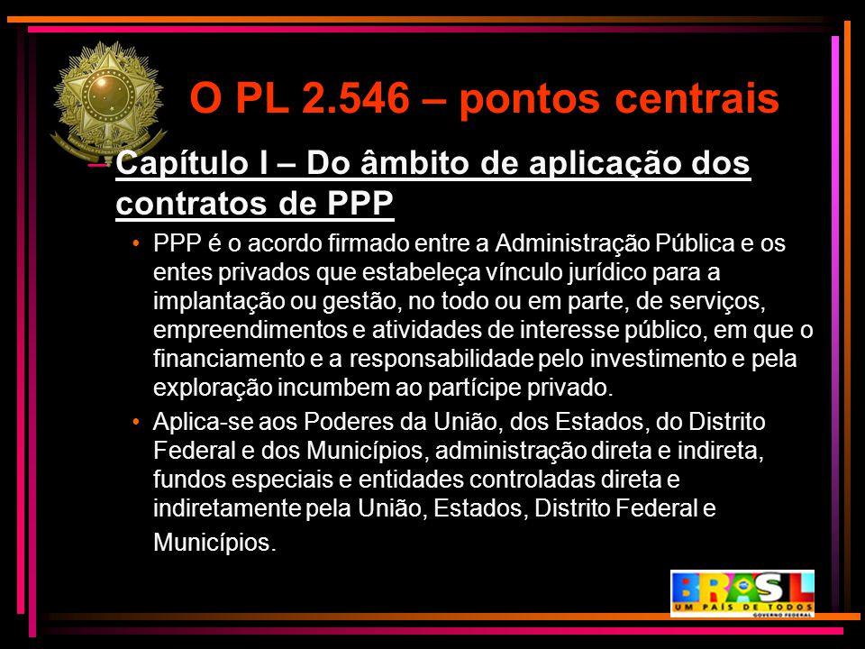O PL 2.546 – pontos centrais –Capítulo I – Do âmbito de aplicação dos contratos de PPP PPP é o acordo firmado entre a Administração Pública e os entes