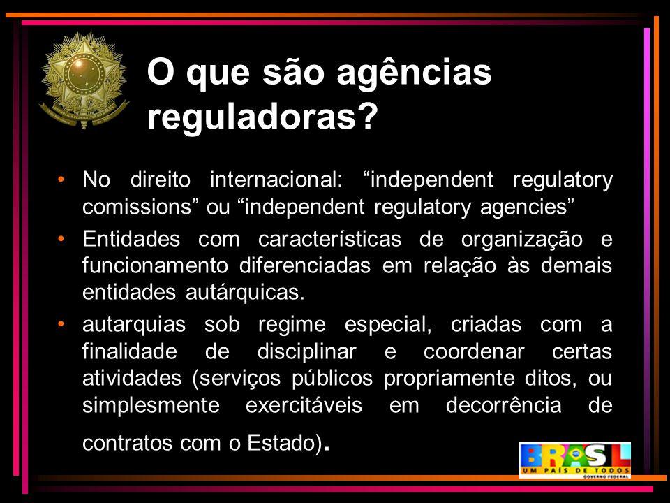 """O que são agências reguladoras? No direito internacional: """"independent regulatory comissions"""" ou """"independent regulatory agencies"""" Entidades com carac"""