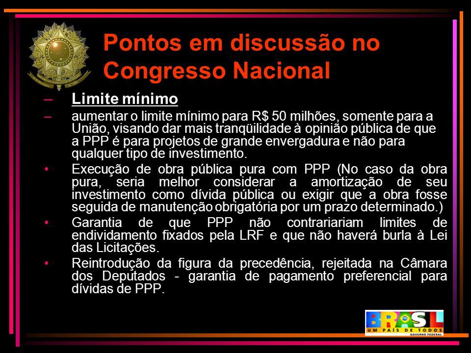 Pontos em discussão no Congresso Nacional –Limite mínimo –aumentar o limite mínimo para R$ 50 milhões, somente para a União, visando dar mais tranqüil