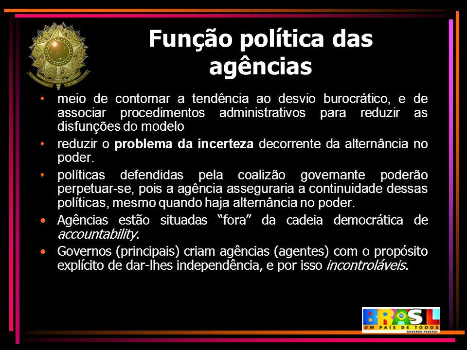 Função política das agências meio de contornar a tendência ao desvio burocrático, e de associar procedimentos administrativos para reduzir as disfunçõ