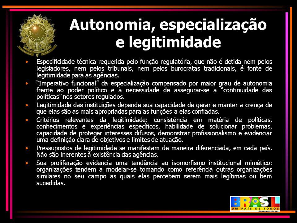 Autonomia, especialização e legitimidade Especificidade técnica requerida pelo função regulatória, que não é detida nem pelos legisladores, nem pelos