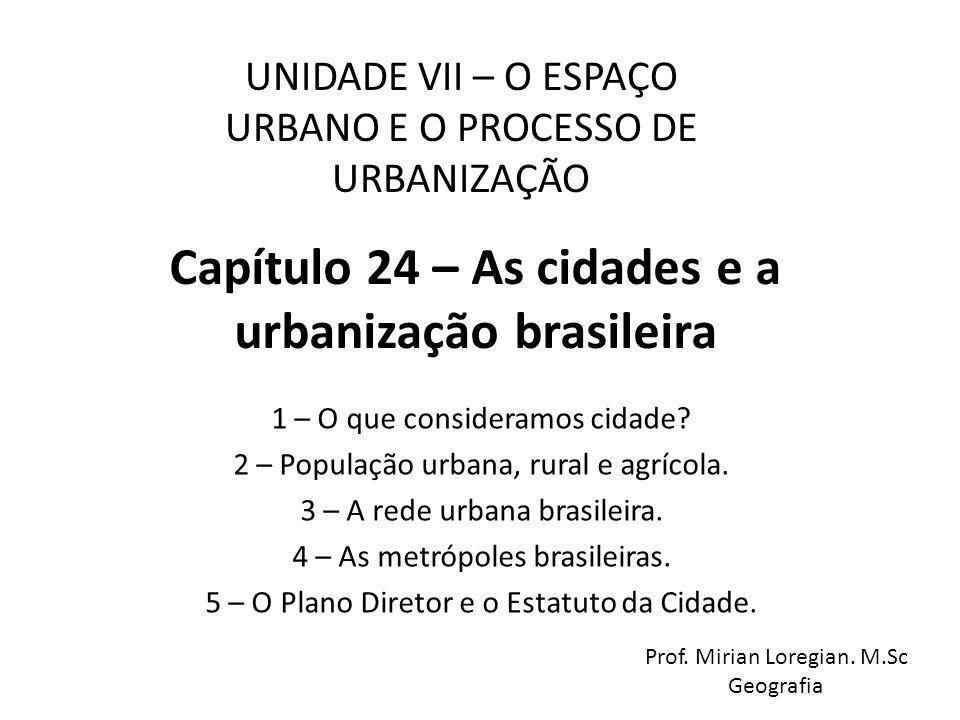 Capítulo 24 – As cidades e a urbanização brasileira 1 – O que consideramos cidade? 2 – População urbana, rural e agrícola. 3 – A rede urbana brasileir