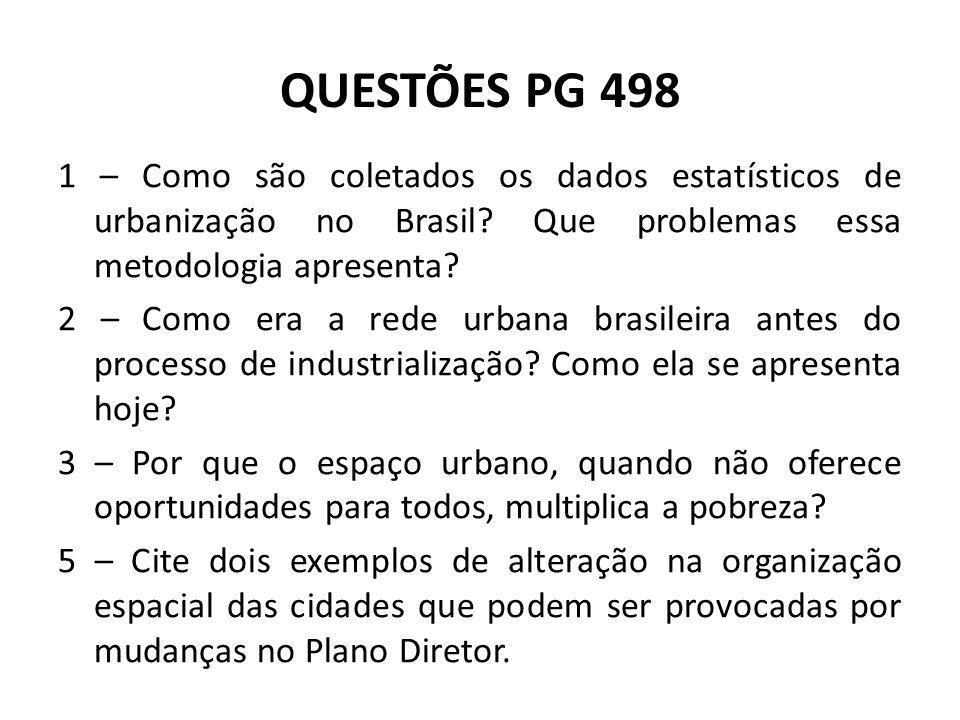 QUESTÕES PG 498 1 – Como são coletados os dados estatísticos de urbanização no Brasil? Que problemas essa metodologia apresenta? 2 – Como era a rede u