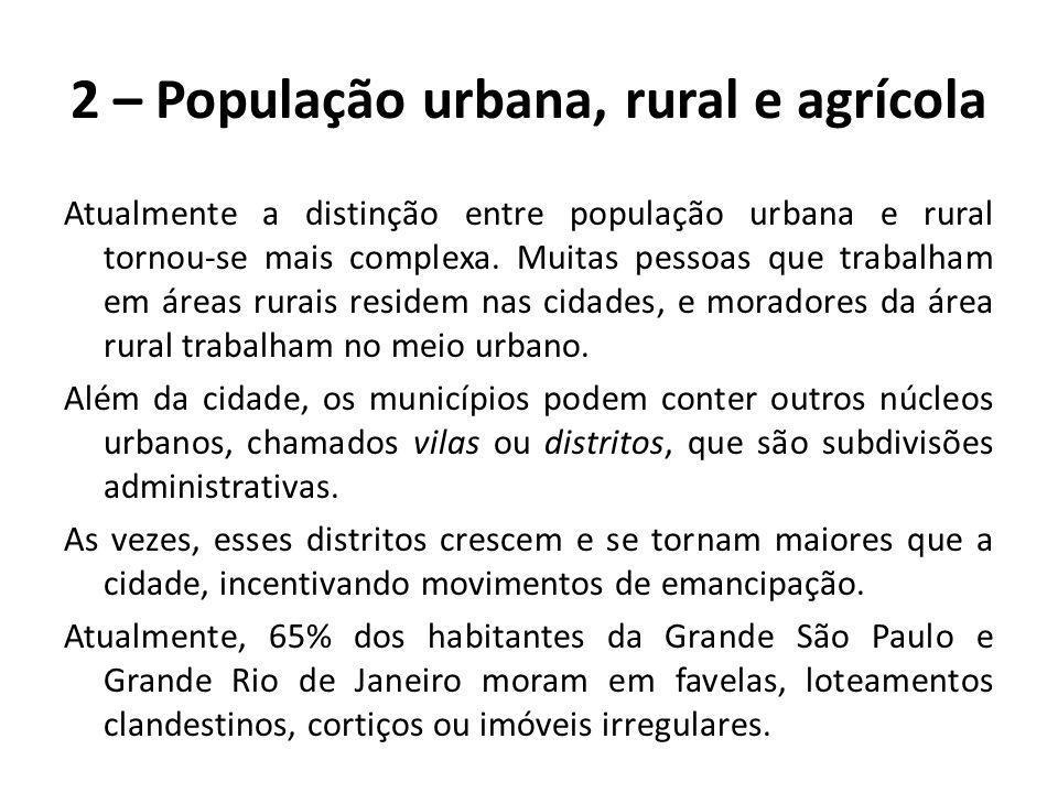 2 – População urbana, rural e agrícola Atualmente a distinção entre população urbana e rural tornou-se mais complexa. Muitas pessoas que trabalham em