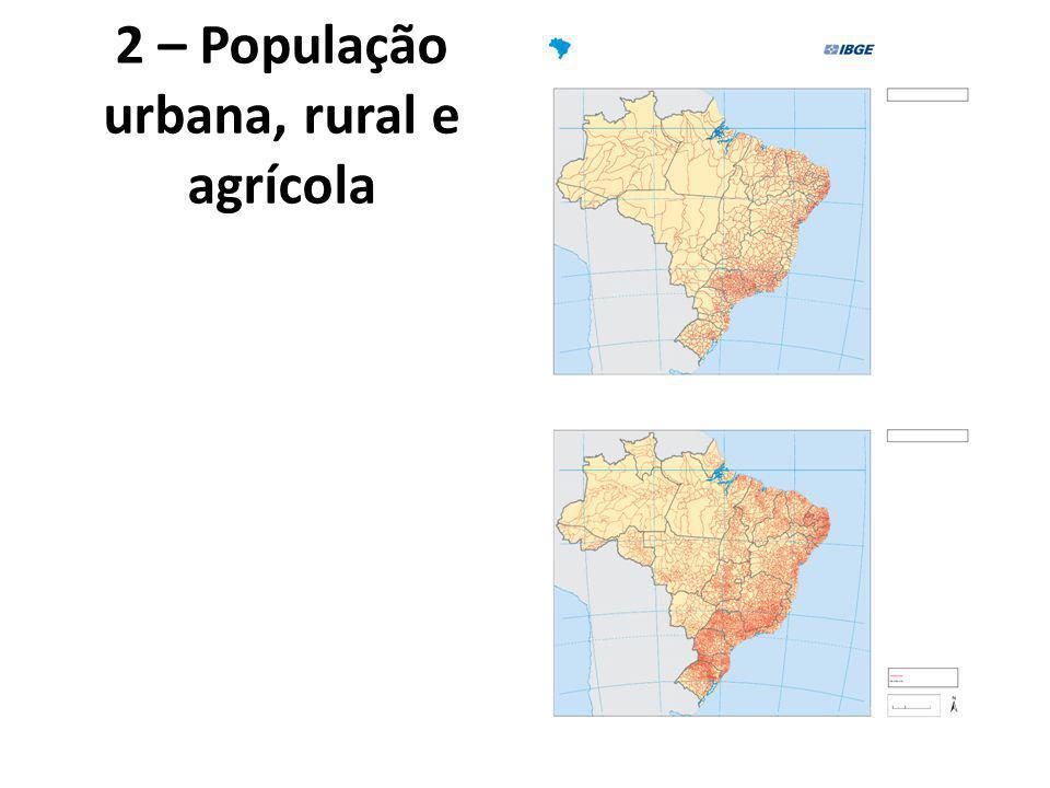 2 – População urbana, rural e agrícola