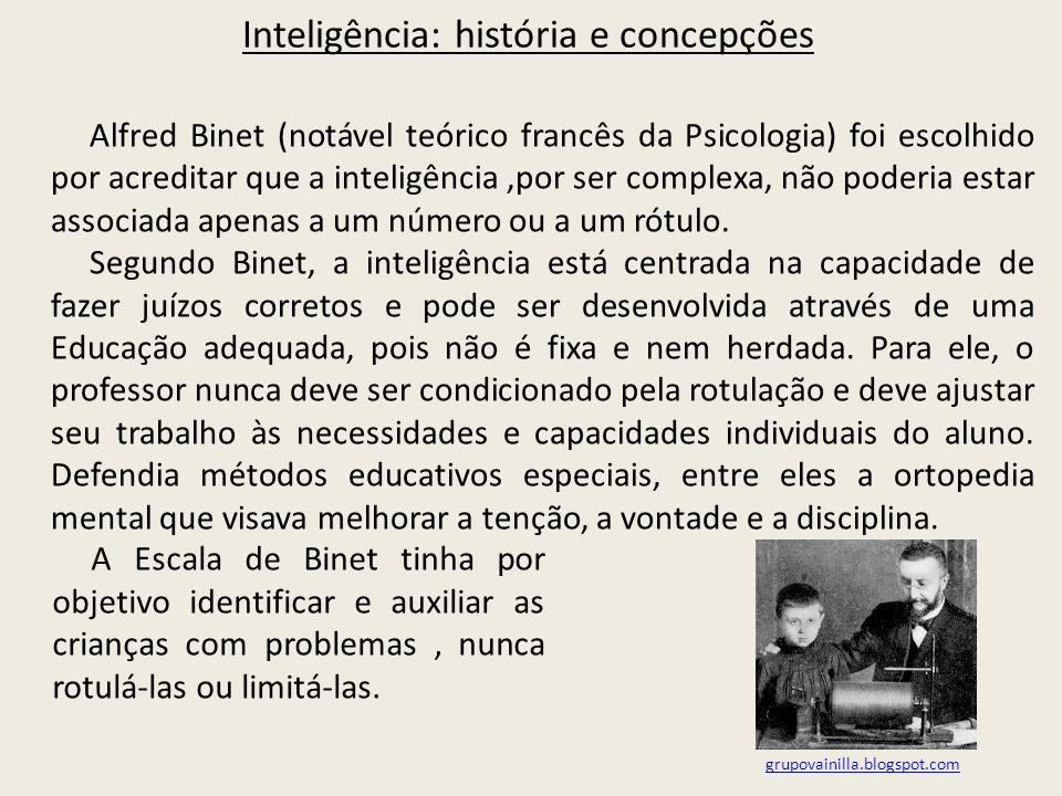 Inteligência: história e concepções Alfred Binet (notável teórico francês da Psicologia) foi escolhido por acreditar que a inteligência,por ser complexa, não poderia estar associada apenas a um número ou a um rótulo.