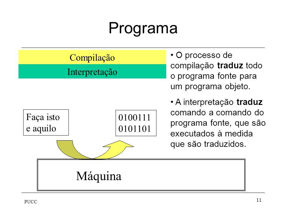 PUCC 11 Programa Faça isto e aquilo Máquina Compilação Interpretação 0100111 0101101 O processo de compilação traduz todo o programa fonte para um pro