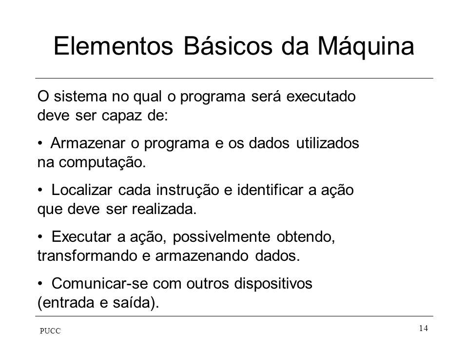 PUCC 14 Elementos Básicos da Máquina O sistema no qual o programa será executado deve ser capaz de: Armazenar o programa e os dados utilizados na comp