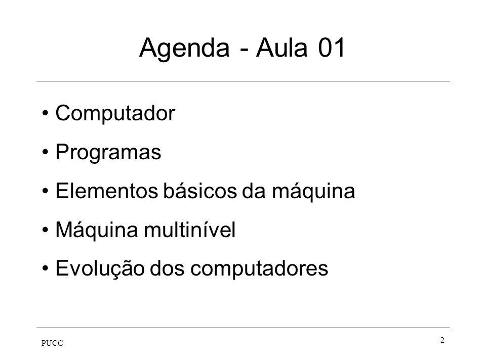 PUCC 13 Elementos Básicos da Máquina Memória Unidade aritmética e lógica Unidade de controle Barramento Dispositivos de entrada e saída