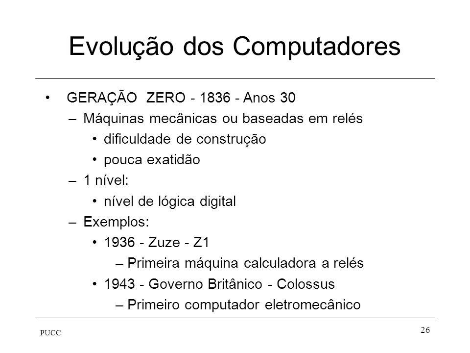 PUCC 26 Evolução dos Computadores GERAÇÃO ZERO - 1836 - Anos 30 –Máquinas mecânicas ou baseadas em relés dificuldade de construção pouca exatidão –1 n