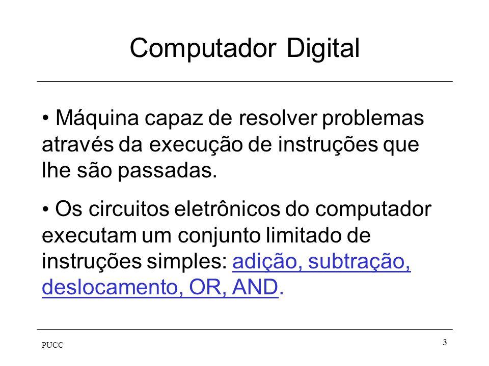 PUCC 3 Computador Digital Máquina capaz de resolver problemas através da execução de instruções que lhe são passadas. Os circuitos eletrônicos do comp