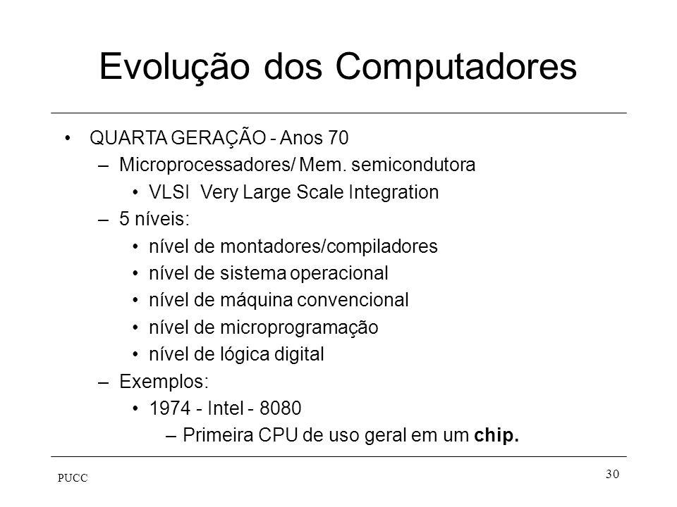 PUCC 30 Evolução dos Computadores QUARTA GERAÇÃO - Anos 70 –Microprocessadores/ Mem. semicondutora VLSI Very Large Scale Integration –5 níveis: nível