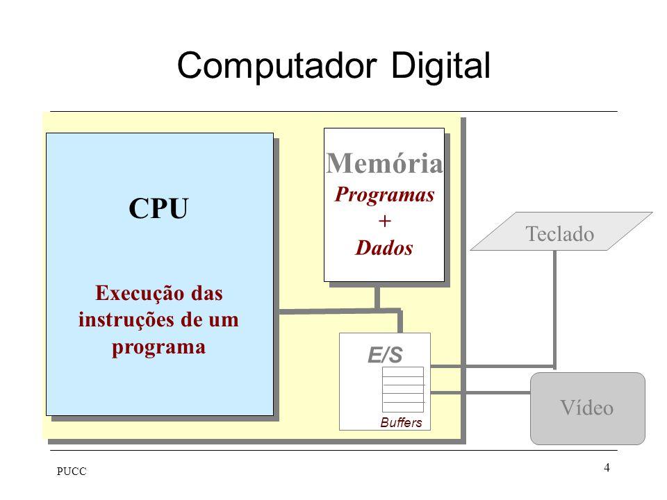 PUCC 4 Computador Digital Vídeo Memória Programas + Dados E/S Buffers Teclado CPU Execução das instruções de um programa CPU Execução das instruções d