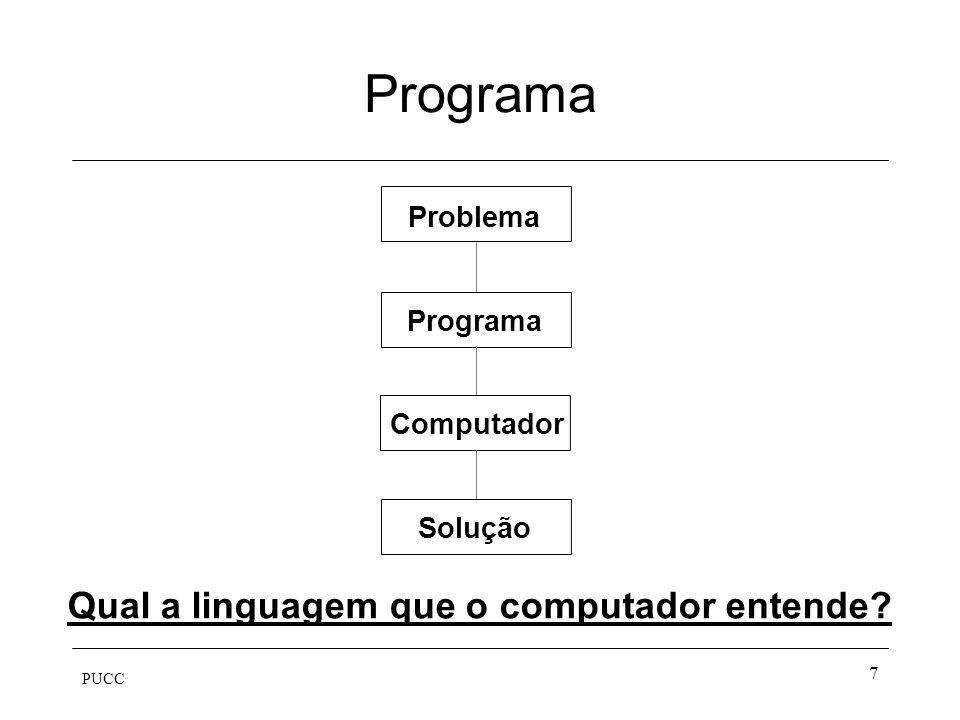 PUCC 7 Programa Solução Computador Programa Problema Qual a linguagem que o computador entende?