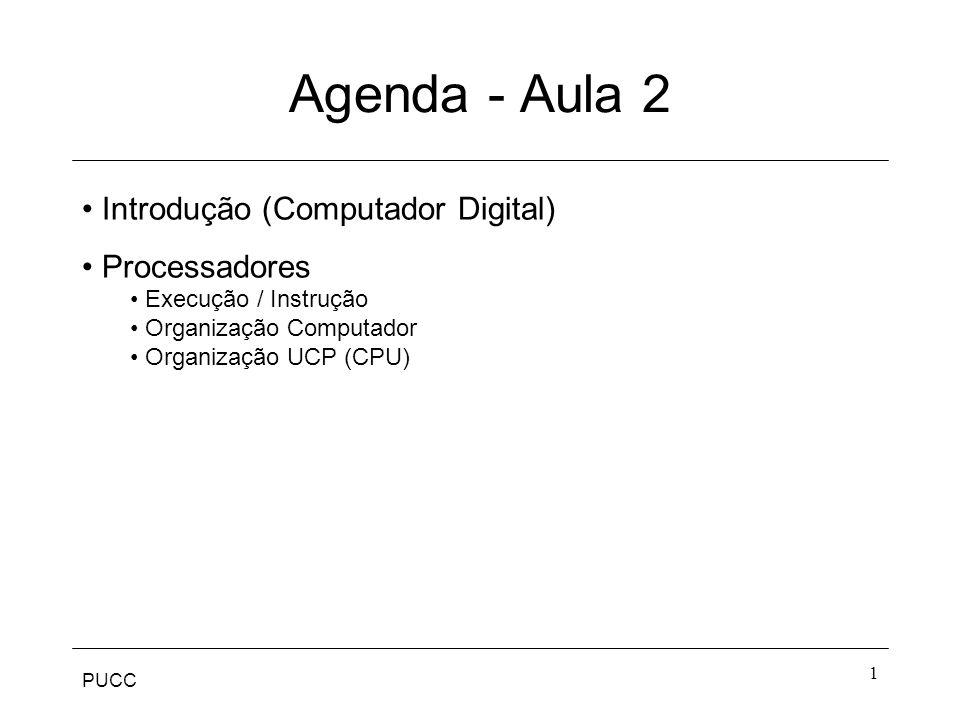 PUCC 1 Agenda - Aula 2 Introdução (Computador Digital) Processadores Execução / Instrução Organização Computador Organização UCP (CPU)