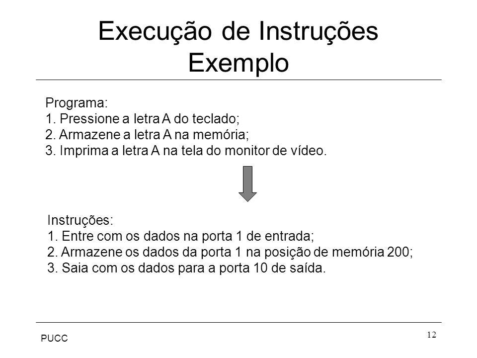PUCC 12 Execução de Instruções Exemplo Programa: 1. Pressione a letra A do teclado; 2. Armazene a letra A na memória; 3. Imprima a letra A na tela do