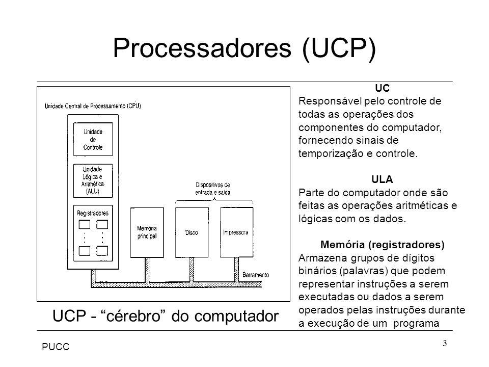 """PUCC 3 Processadores (UCP) UCP - """"cérebro"""" do computador UC Responsável pelo controle de todas as operações dos componentes do computador, fornecendo"""
