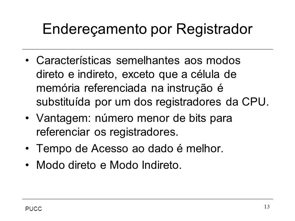 PUCC 13 Endereçamento por Registrador Características semelhantes aos modos direto e indireto, exceto que a célula de memória referenciada na instruçã