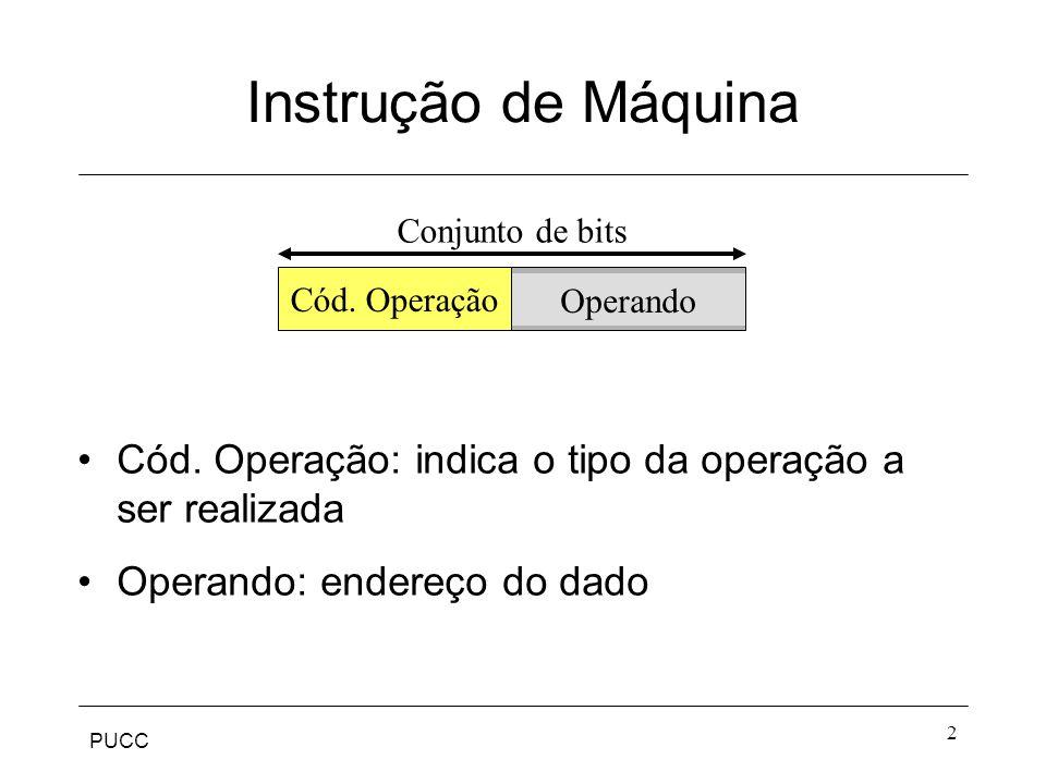 PUCC 2 Instrução de Máquina Cód. Operação: indica o tipo da operação a ser realizada Operando: endereço do dado Cód. Operação Operando Conjunto de bit