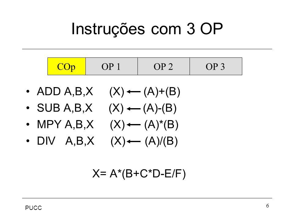 PUCC 6 Instruções com 3 OP ADD A,B,X (X) (A)+(B) SUB A,B,X (X) (A)-(B) MPY A,B,X (X) (A)*(B) DIV A,B,X (X) (A)/(B) X= A*(B+C*D-E/F) COpOP 1OP 2OP 3
