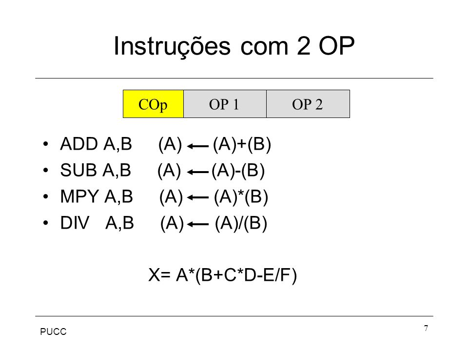 PUCC 7 Instruções com 2 OP ADD A,B (A) (A)+(B) SUB A,B (A) (A)-(B) MPY A,B (A) (A)*(B) DIV A,B (A) (A)/(B) X= A*(B+C*D-E/F) COpOP 1OP 2
