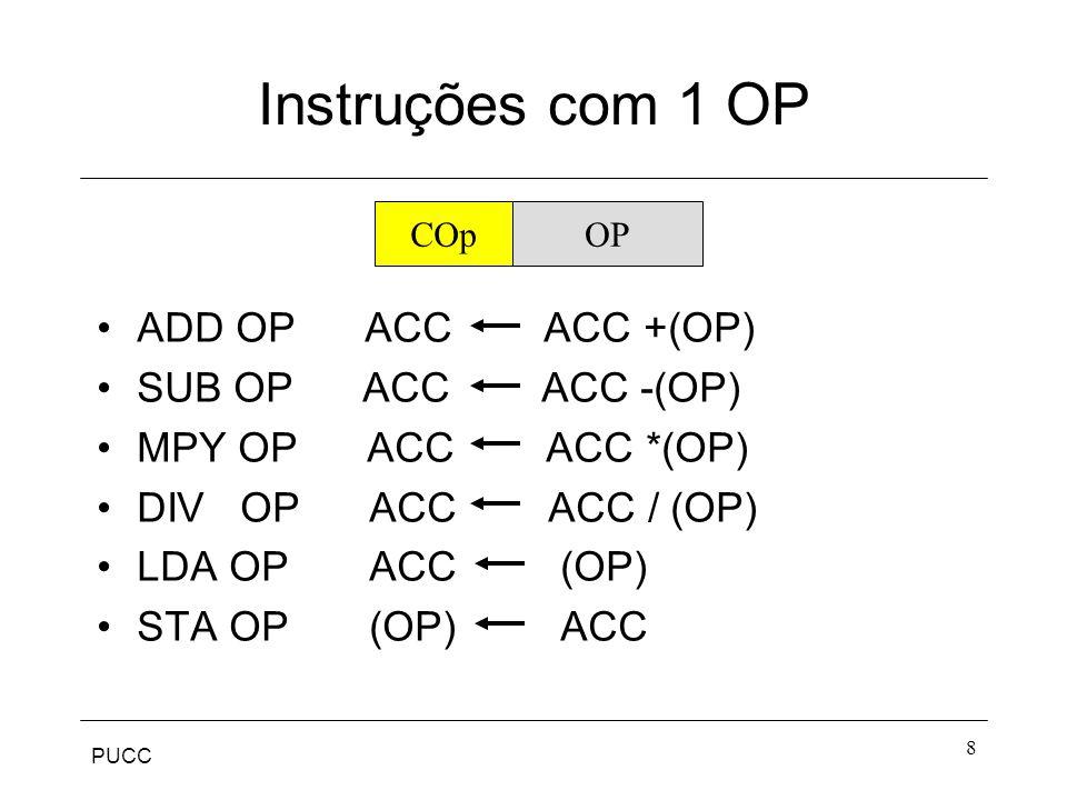 PUCC 8 Instruções com 1 OP ADD OP ACC ACC +(OP) SUB OP ACC ACC -(OP) MPY OP ACC ACC *(OP) DIV OP ACC ACC / (OP) LDA OP ACC (OP) STA OP (OP) ACC COpOP
