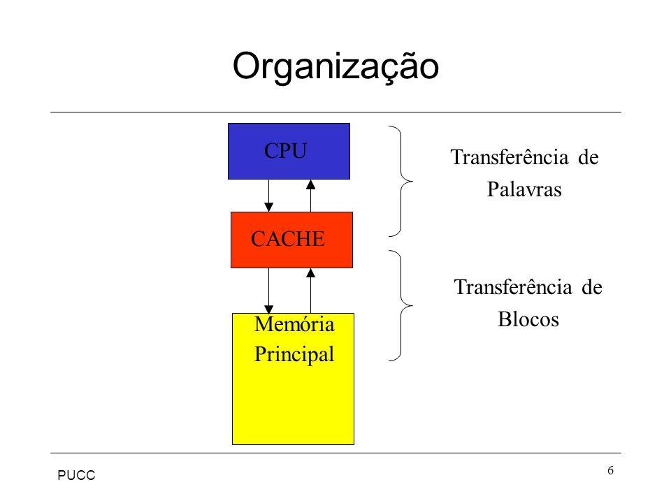 PUCC 17 Associativo por Conjuntos Tenta resolver o problema do conflito de blocos em um mesmo quadro (mapeamento direto) e o problema da busca exaustiva e comparação das tags de toda a cache (mapeamento associativo)