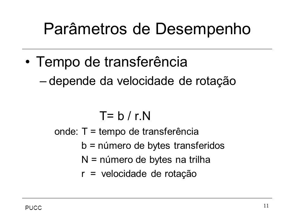 PUCC 11 Parâmetros de Desempenho Tempo de transferência –depende da velocidade de rotação T= b / r.N onde: T = tempo de transferência b = número de bytes transferidos N = número de bytes na trilha r = velocidade de rotação