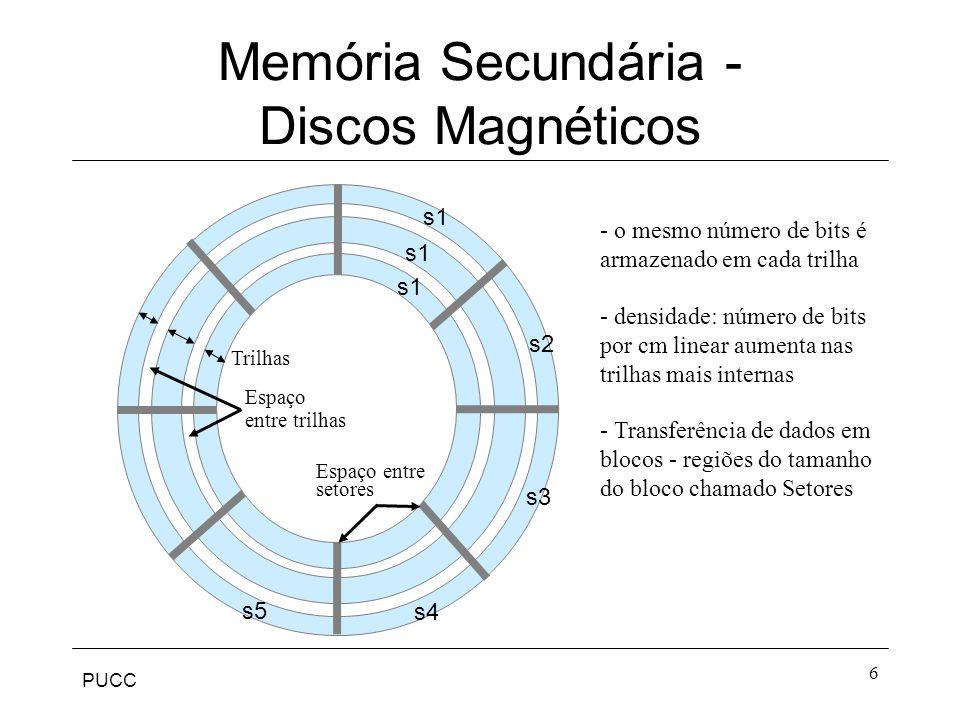 PUCC 6 Memória Secundária - Discos Magnéticos s1 s4 s2 s3 s5 Trilhas Espaço entre trilhas - o mesmo número de bits é armazenado em cada trilha - densidade: número de bits por cm linear aumenta nas trilhas mais internas s1 - Transferência de dados em blocos - regiões do tamanho do bloco chamado Setores Espaço entre setores