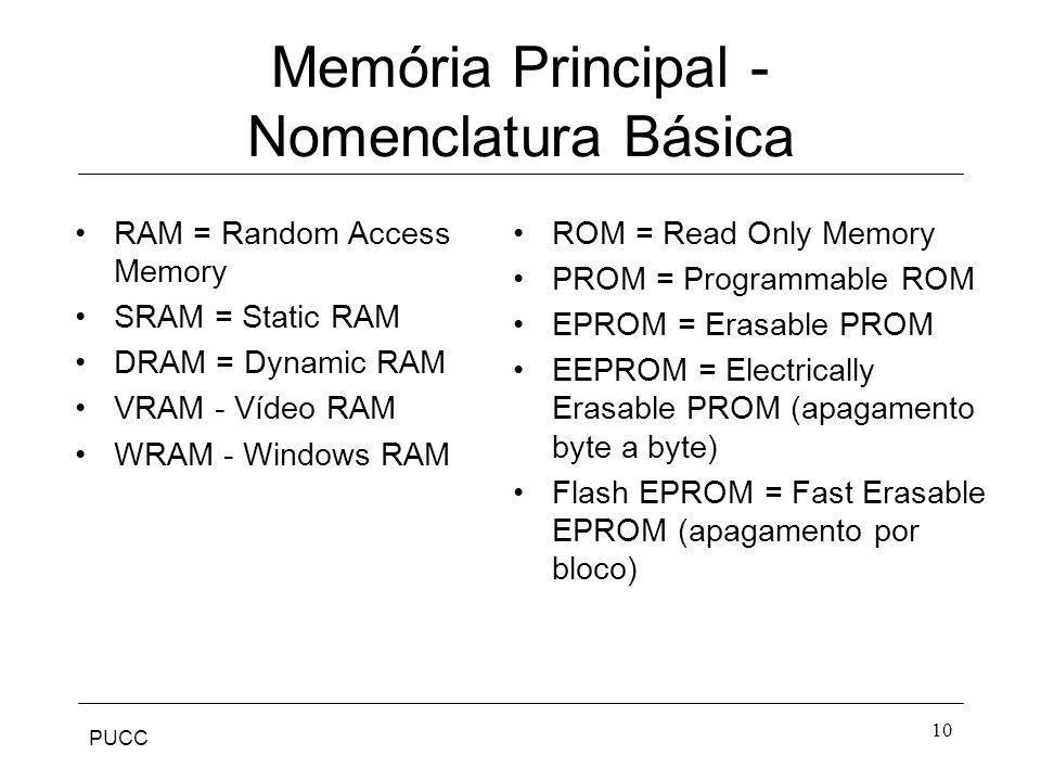 PUCC 10 Memória Principal - Nomenclatura Básica RAM = Random Access Memory SRAM = Static RAM DRAM = Dynamic RAM VRAM - Vídeo RAM WRAM - Windows RAM RO