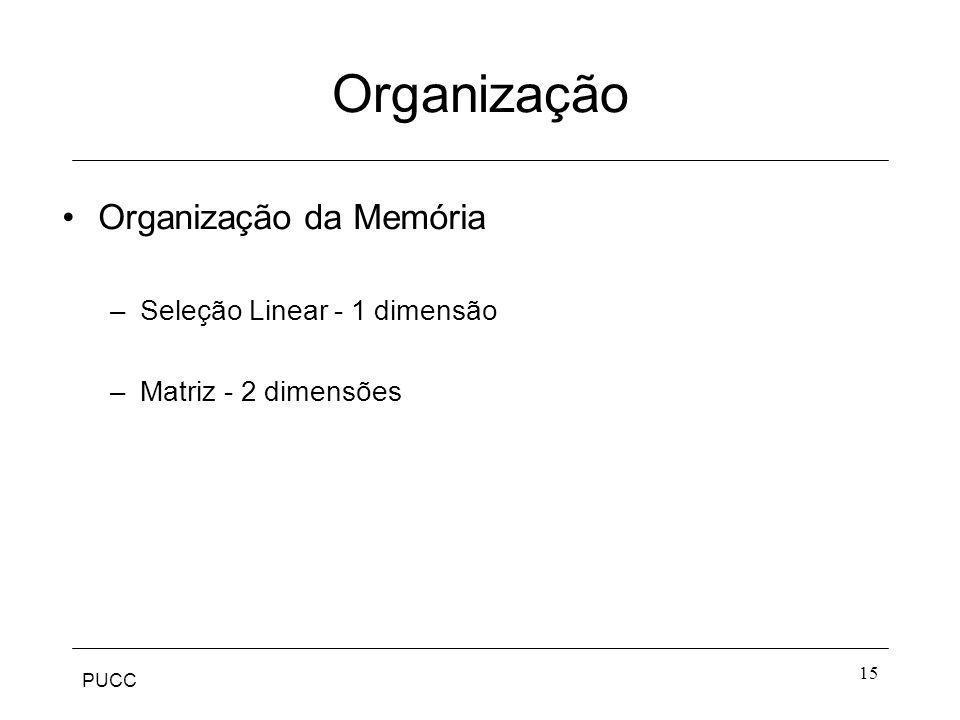 PUCC 15 Organização Organização da Memória –Seleção Linear - 1 dimensão –Matriz - 2 dimensões