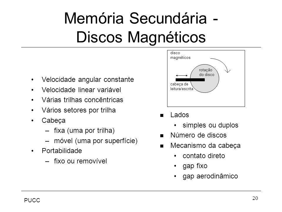 PUCC 20 Memória Secundária - Discos Magnéticos Velocidade angular constante Velocidade linear variável Várias trilhas concêntricas Vários setores por