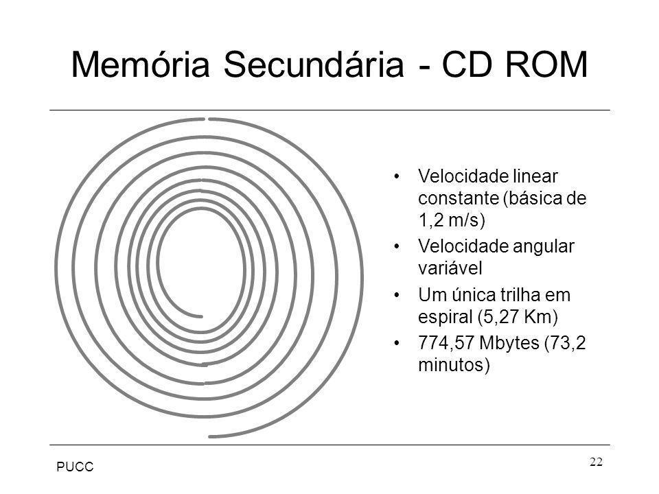 PUCC 22 Memória Secundária - CD ROM Velocidade linear constante (básica de 1,2 m/s) Velocidade angular variável Um única trilha em espiral (5,27 Km) 7