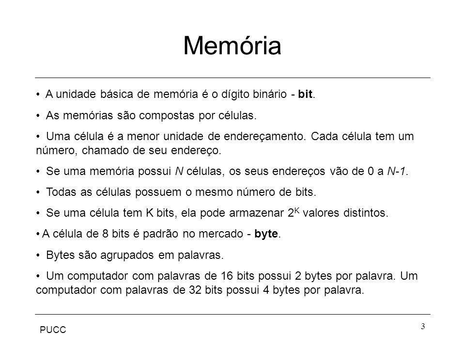 PUCC 3 Memória A unidade básica de memória é o dígito binário - bit. As memórias são compostas por células. Uma célula é a menor unidade de endereçame