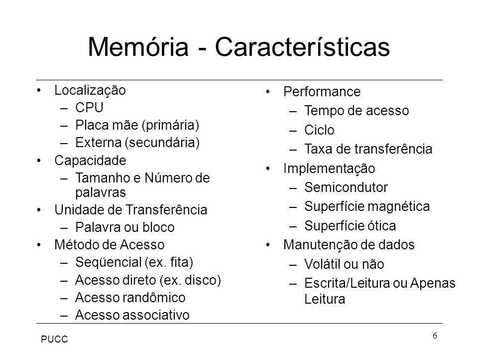 PUCC 6 Memória - Características Localização –CPU –Placa mãe (primária) –Externa (secundária) Capacidade –Tamanho e Número de palavras Unidade de Tran