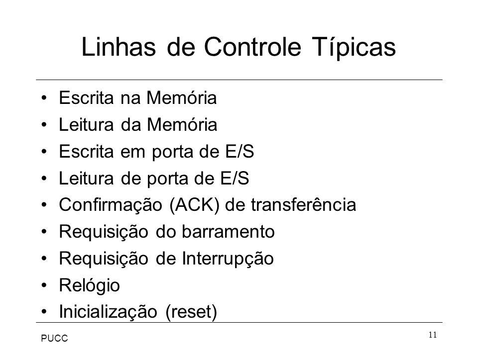 PUCC 11 Linhas de Controle Típicas Escrita na Memória Leitura da Memória Escrita em porta de E/S Leitura de porta de E/S Confirmação (ACK) de transfer