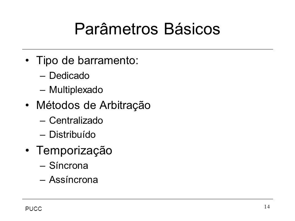 PUCC 14 Parâmetros Básicos Tipo de barramento: –Dedicado –Multiplexado Métodos de Arbitração –Centralizado –Distribuído Temporização –Síncrona –Assínc