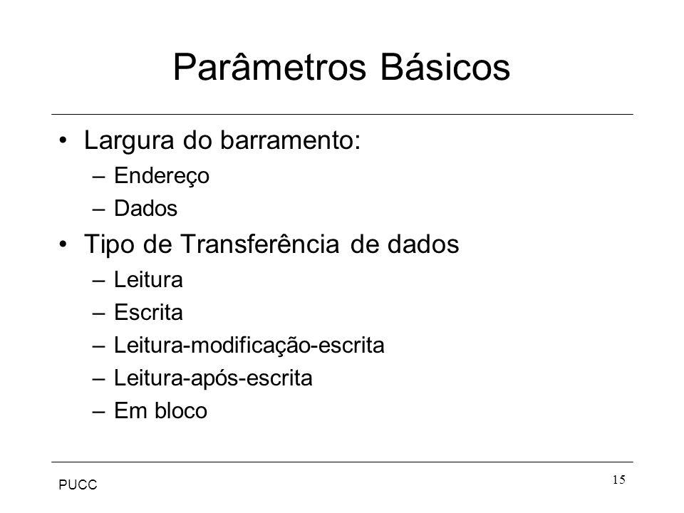PUCC 15 Parâmetros Básicos Largura do barramento: –Endereço –Dados Tipo de Transferência de dados –Leitura –Escrita –Leitura-modificação-escrita –Leit
